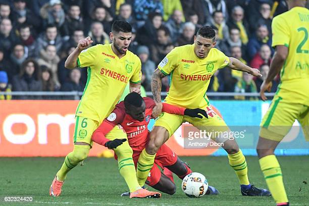 Lucas Pedro Alves de Lima of Nantes Blaise Matuidi of PSG and Diego Carlos Santos Silva of Nantes during the French Ligue 1 match between Nantes and...