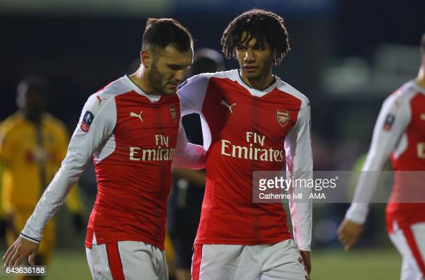 Lucas Perez and Mohamed Elneny of Arsenal during The Emirates FA Cup Fifth Round match between Sutton United and Arsenal on February 20 2017 in...
