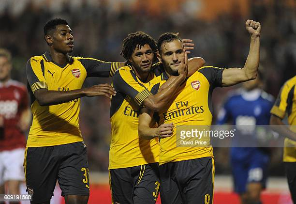 Lucas Perez celebrates scoring Arsenal's 2nd goal with Jeff ReineAdelaide and Mohamed Elneny during the match between Nottingham Forest and Arsenal...