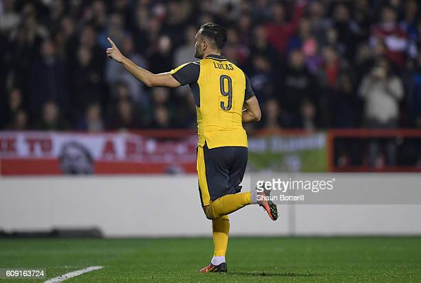 Lucas Perez of Arsenal celebrates after scoring his sides second goal during the EFL Cup Third Round match between Nottingham Forest and Arsenal at...