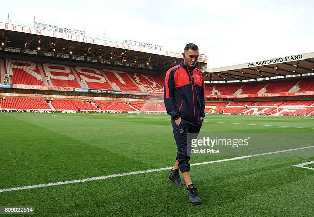 Lucas Perez of Arsenal checks the pitch before the match between Nottingham Forest and Arsenal at City Ground on September 20 2016 in Nottingham...