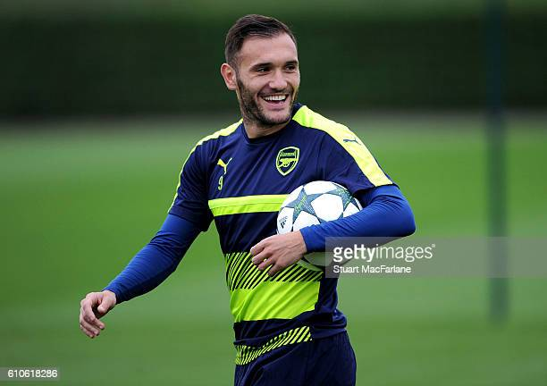 Lucas Perez of Arsenal during a training session at London Colney on September 27 2016 in St Albans England