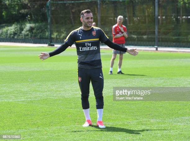 Lucas Perez of Arsenal during a training session at London Colney on May 24 2017 in St Albans England