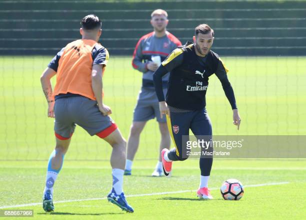 Lucas Perez of Arsenal during a training session at London Colney on May 26 2017 in St Albans England