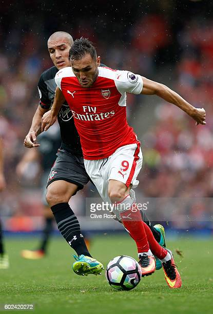 Lucas Perez of Arsenal during the Premier League match between Arsenal and Southampton at Emirates Stadium on September 10 2016 in London England