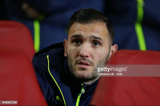 Lucas Perez of Arsenal during the UEFA Champions League Round of 16 second leg match between Arsenal FC and FC Bayern Muenchen at Emirates Stadium on...