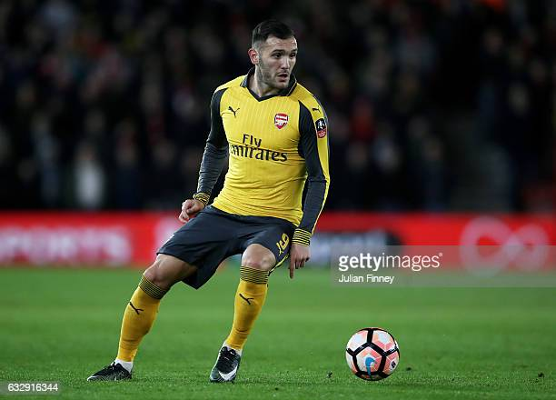 Lucas Perez of Arsenal in action during the Emirates FA Cup Fourth Round match between Southampton and Arsenal at St Mary's Stadium on January 28...