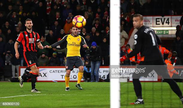 Lucas Perez of Arsenal scores his side's second goal during the Premier League match between AFC Bournemouth and Arsenal at Vitality Stadium on...