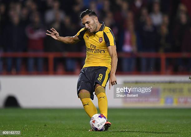 Lucas Perez of Arsenal scores his sides second goal from the penalty spot during the EFL Cup Third Round match between Nottingham Forest and Arsenal...