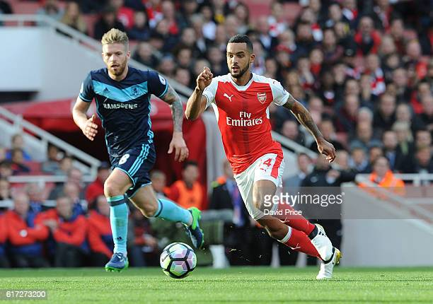 Lucas Perez of Arsenal takes on Adam Clayton of Middlesbrough during the Premier League match between Arsenal and Middlesbrough at Emirates Stadium...
