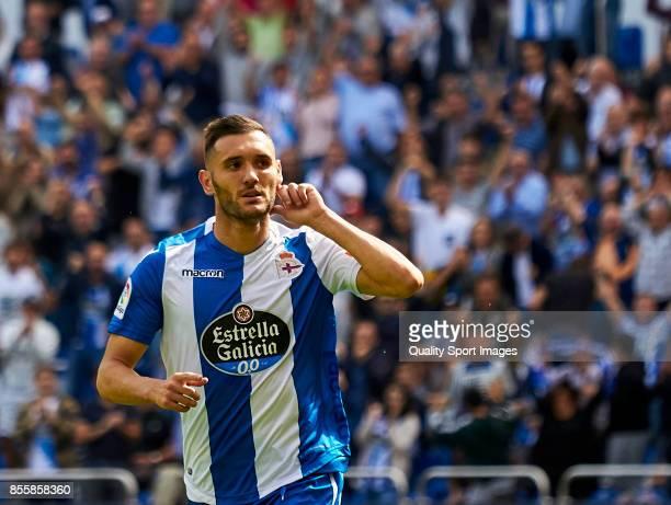 Lucas Perez of Deportivo de La Coruna celebrates a goal during the La Liga match between Deportivo La Coruna and Getafe at Abanca Riazor Stadium on...