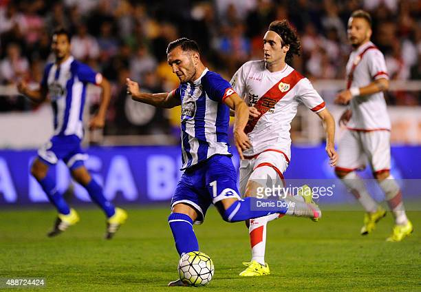 Lucas Perez of RC Deportivo la Coruna in action during the La Liga match between Rayo Vallecano and RC Deportivo La Coruna at Estadio Teresa Rivero...