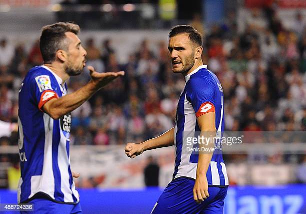 Lucas Perez of RC Deportivo la Coruna reacts during the La Liga match between Rayo Vallecano and RC Deportivo La Coruna at Estadio Teresa Rivero on...