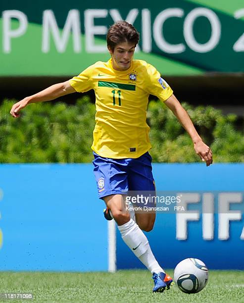 Lucas Piazon of Brazil in action against Ecuador during the FIFA U17 World Cup Round 16 match between Ecuador and Brazil at Estadio Guadalajara on...