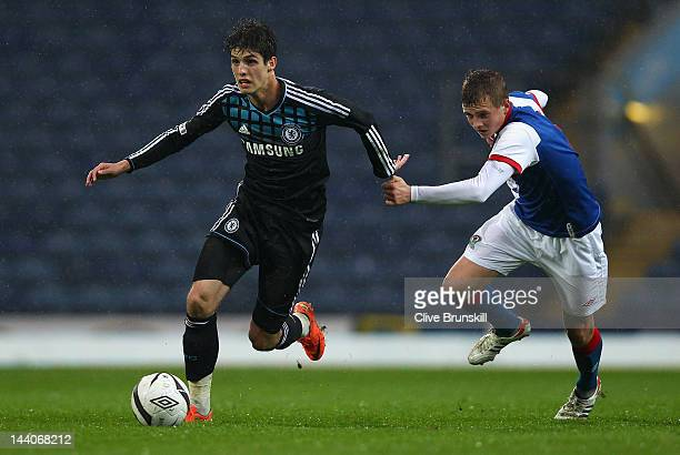 Lucas Piazon of Chelsea in action with Robbie Cotton of Blackburn Rovers during the FA Youth Cup Final 2nd leg match between Blackburn Rovers U18's...