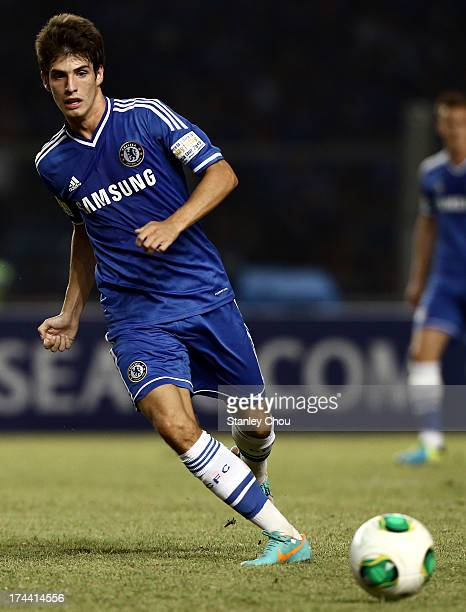 Lucas Piazon of Chelsea passes the ball during the match between Chelsea and Indonesia All Stars at Gelora Bung Karno Stadium on July 25 2013 in...
