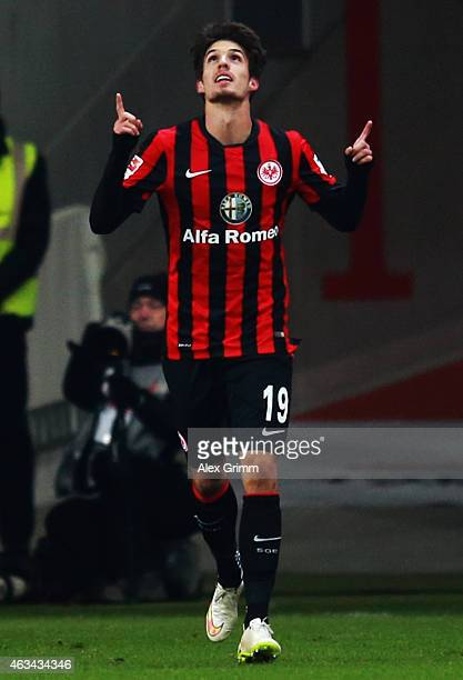 Lucas Piazon of Frankfurt celebrates his team's first goal during the Bundesliga match between Eintracht Frankfurt and FC Schalke 04 at...