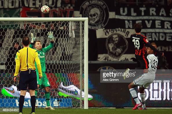 Lucas Piazon of Frankfurt scores his team's first goal during the Bundesliga match between Eintracht Frankfurt and FC Schalke 04 at CommerzbankArena...