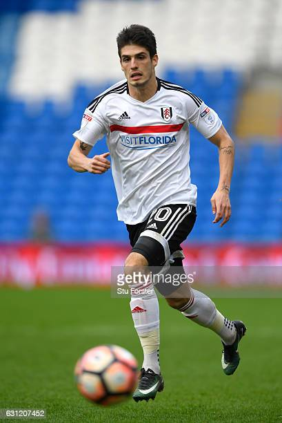 Lucas Piazon of Fulham in action during The Emirates FA Cup Third Round match between Cardiff City and Fulham at Cardiff City Stadium on January 8...
