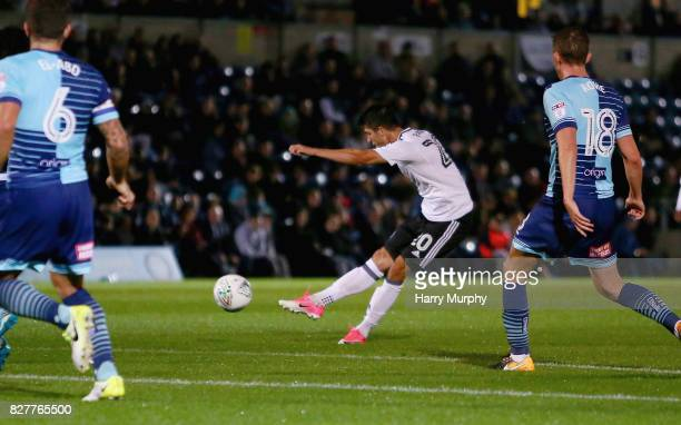 Lucas Piazon of Fulham scores his teams first goal during the Carabao Cup First Round match between Wycombe Wanderers and Fulham at Adams Park on...