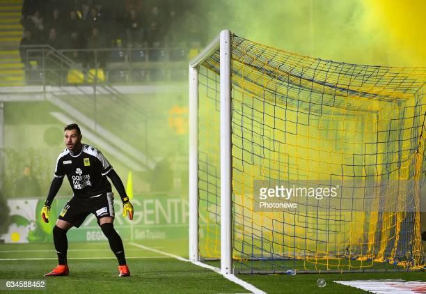 Lucas Pirard goalkeeper of STVV during the Jupiler Pro League match between K SintTruidense VV and KRC Genk on February 10 2017 in SintTruiden Belgium