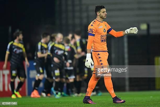Lucas Pirard goalkeeper of STVV looks dejected after Lokeren scored a penalty during the Jupiler Pro League match between Sporting Lokeren and STVV...