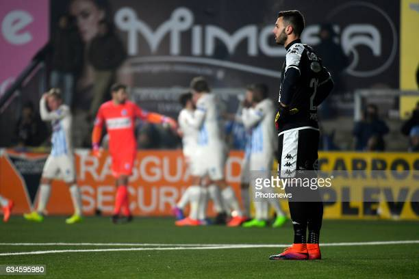 Lucas Pirard goalkeeper of STVV looks dejected during the Jupiler Pro League match between K SintTruidense VV and KRC Genk on February 10 2017 in...