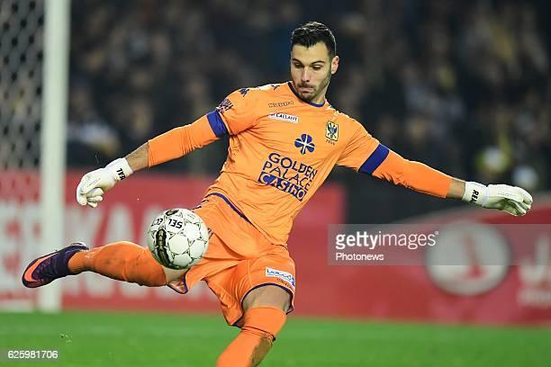 Lucas Pirard goalkeeper of STVV shoots the ball during the Jupiler Pro League match between Sporting Lokeren and STVV at the Daknam stadium on...