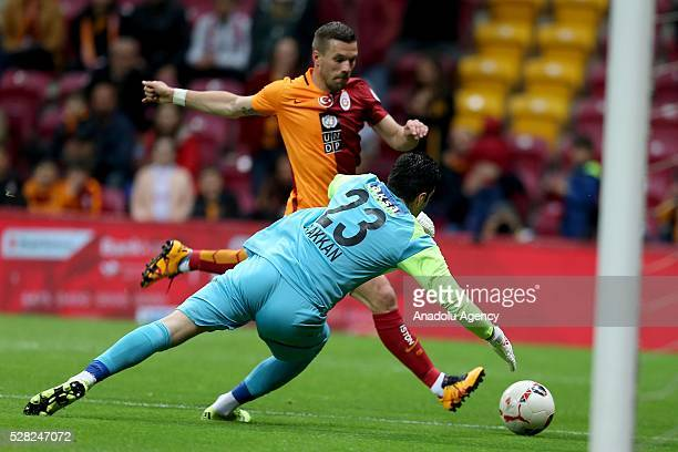 Lucas Podolski of Galatasaray in an action during the during Ziraat Turkish Cup Semi Final second leg football match between Galatasaray and Caykur...