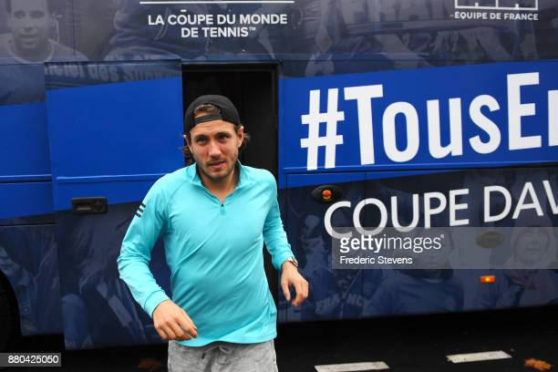 Lucas Pouille arrives at NTC after victory over Belgium at the weekend in Villeneuve d'Ascq on November 27 2017 in Paris France