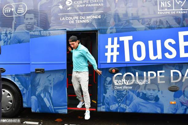 Lucas Pouille arrives for the presentation of the Davis Cup winning team to the staff of the French Tennis Federation at Roland Garros on November 27...