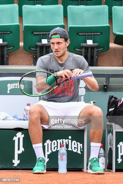 Lucas Pouille during qualifying match of the 2017 French Open at Roland Garros on May 24 2017 in Paris France