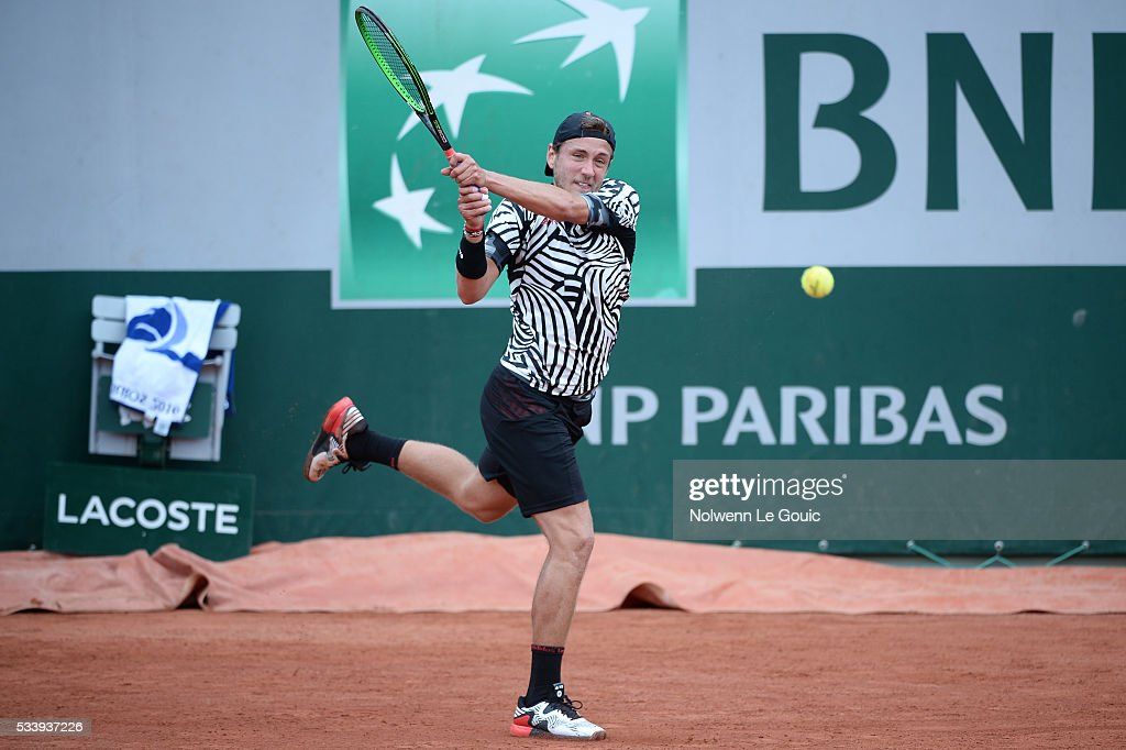 Lucas Pouille during the Men's Singles first round on day three of the French Open 2016 at Roland Garros on May 24, 2016 in Paris, France.