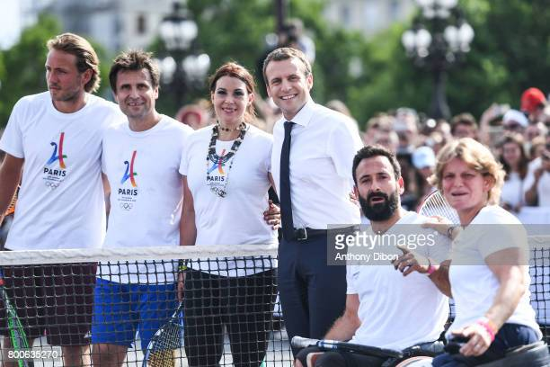 Lucas Pouille Fabrice Santoro Marion Bartoli French president Emmanuel Macron Michael Jeremiasz and Charlotte Famin during the Olympic Day Paris...