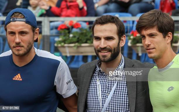 Lucas Pouille of France Aron Szilagyi Hungarian olympic fencing champion and Aljaz Bedene of Great Britain pose before the final at Gazprom Hungarian...
