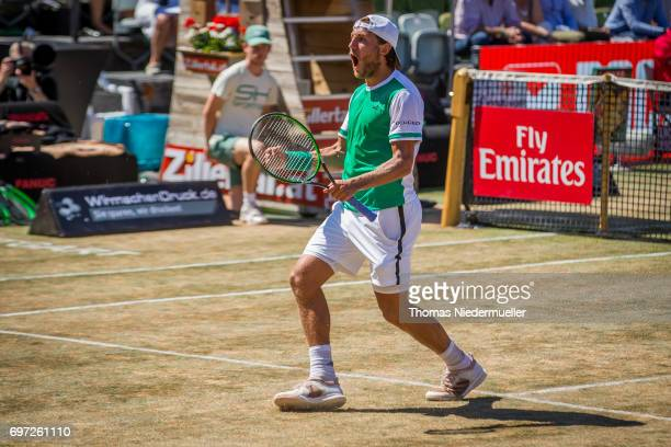 Lucas Pouille of France celebrates his victory after the MercedesCup men's singles final between Feliciano Lopez of Spain and Lucas Pouille of France...