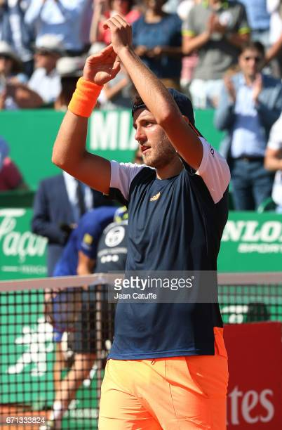 Lucas Pouille of France celebrates winning his quarter final on day 6 of the MonteCarlo Rolex Masters an ATP Tour Masters Series 1000 on the clay...