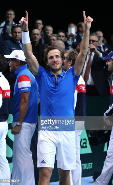 Lucas Pouille of France celebrates winning the 5th match and the Davis Cup 2017 during day 3 of the Davis Cup World Group final between France and...