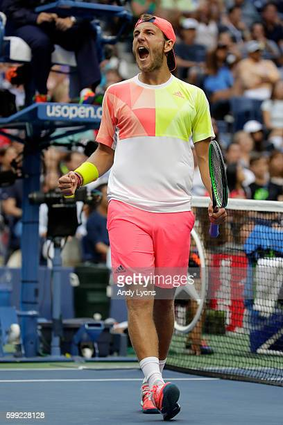 Lucas Pouille of France reacts against Rafael Nadal of Spain during his fourth round Men's Singles match on Day Seven of the 2016 US Open at the USTA...