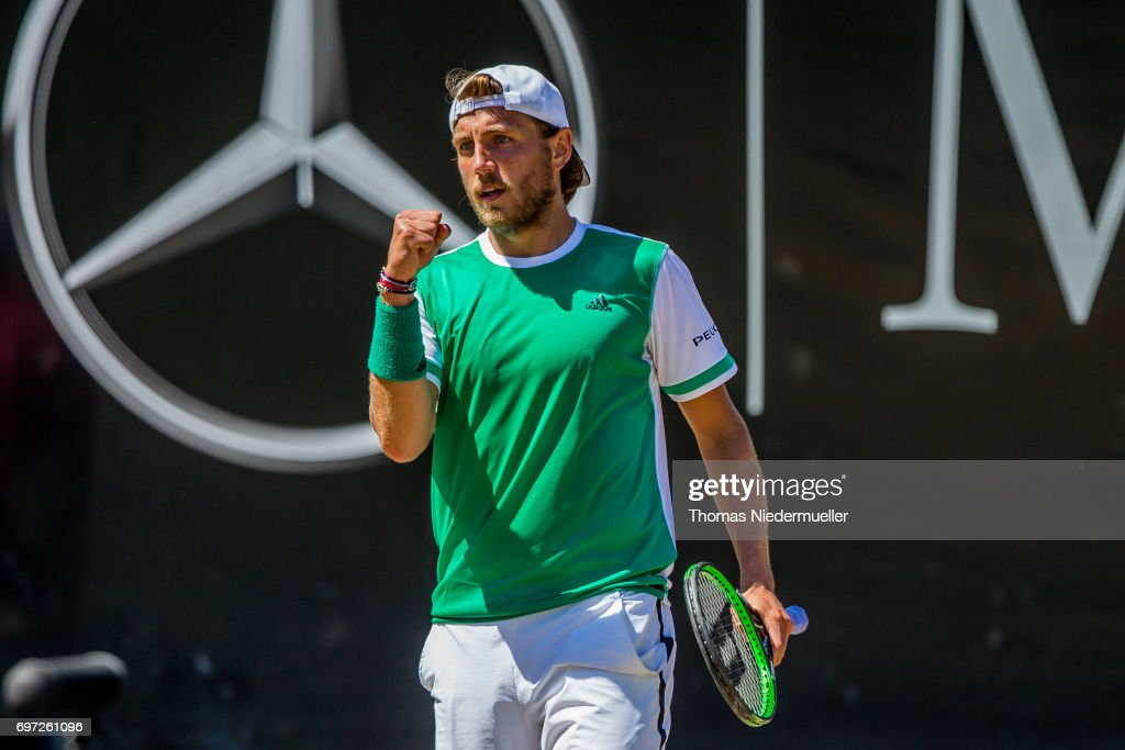 Lucas Pouille of France reacts during the MercedesCup men's singles final between Feliciano Lopez of Spain and Lucas Pouille of France at Tennis Club Weissenhof on June 18, 2017 in Stuttgart, Germany.