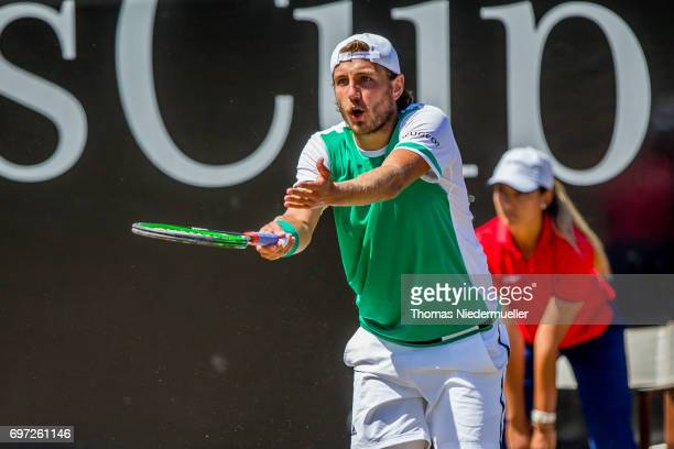 Lucas Pouille of France reacts during the MercedesCup men's singles final between Feliciano Lopez of Spain and Lucas Pouille of France at Tennis Club...