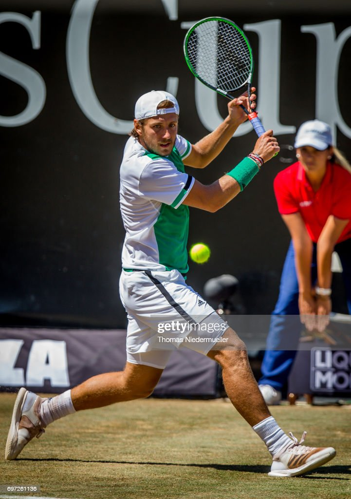 Lucas Pouille of France returns the ball during the MercedesCup men's singles final between Feliciano Lopez of Spain and Lucas Pouille of France at Tennis Club Weissenhof on June 18, 2017 in Stuttgart, Germany.