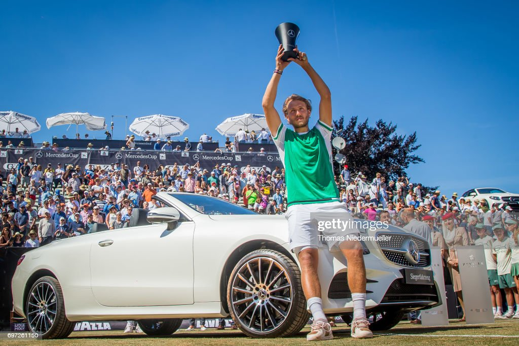 Lucas Pouille of France shows the trophy after the MercedesCup men's singles final between Feliciano Lopez of Spain and Lucas Pouille of France at Tennis Club Weissenhof on June 18, 2017 in Stuttgart, Germany.
