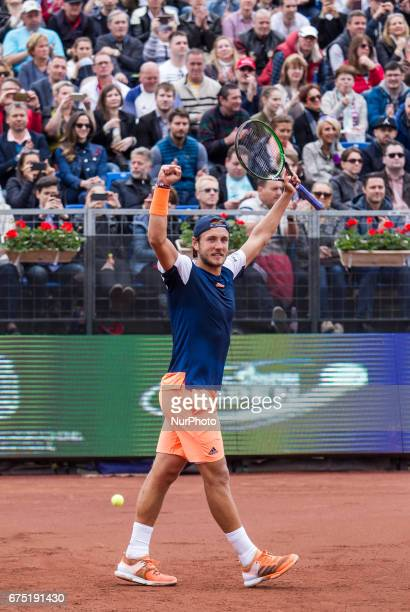 Lucas Pouille of France wins against Aljaz Bedene of Great Britain in the final at Gazprom Hungarian Open 2017 at National Training Center on April...