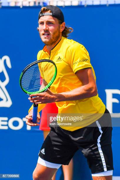 Lucas Pouille waits for the ball to be served during his first round match at ATP Coupe Rogers on August 7 at Uniprix Stadium in Montreal QC