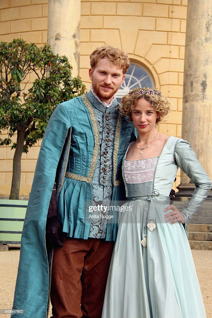 Lucas Prisor and Jytte-Merle Boehrnsen during a photocall for the screen adaption of the Brothers Grimm fairy tale 'Das singende, klingende Baeumchen' on June 30, 2016 in Potsdam, Germany.
