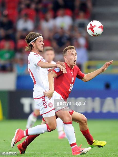 Lucas Qvistorff Andersen Martin Hasek during the UEFA European Under21 match between Czech Republic and Denmark at Arena Tychy on June 24 2017 in...