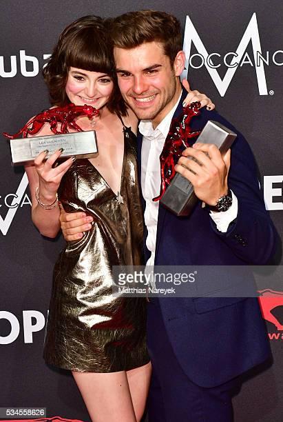 Lucas Reiber and Lea van Acken during the New Faces Award Film 2015 at ewerk on May 26 2016 in Berlin Germany