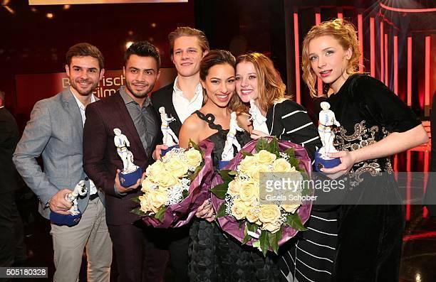 Lucas Reiber Aram Arami Max von der Groeben Gizem Emre Jella Haase and Anna Lena Klenke with awards during the Bavarian Film Award 2016 at...