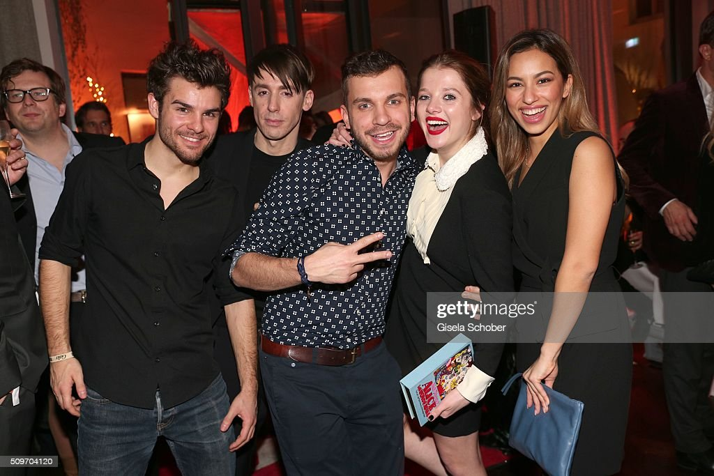 Lucas Reiber, Kilian Kerner, Edin Hasanovic, Jella Haase and Gizem Emre during the 'Berlin Opening Night of GALA & UFA Fiction' at Das Stue Hotel on February 11, 2016 in Berlin, Germany.
